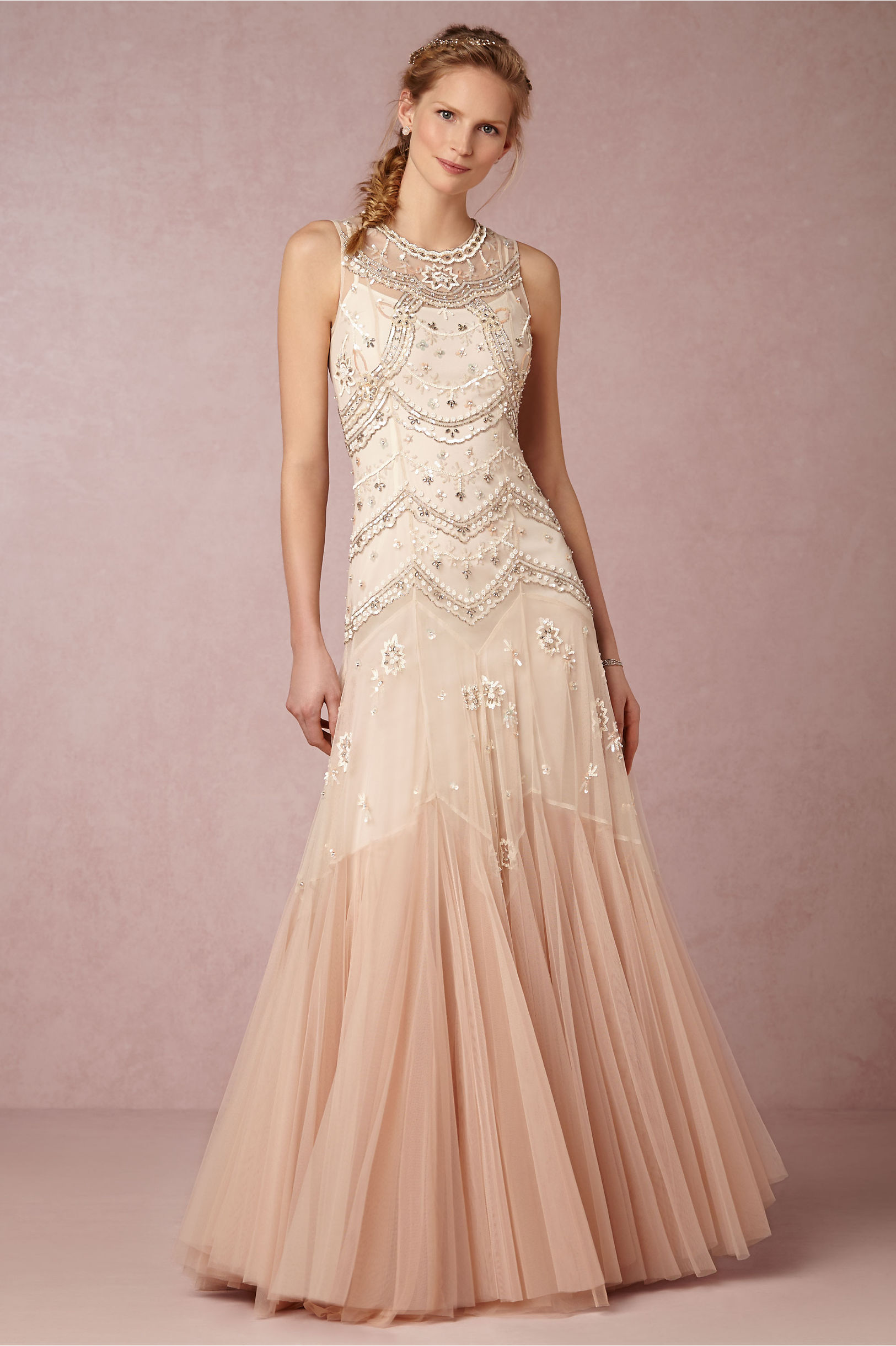 Needle Thread Cream Dust Pink Cate Gown Bhldn