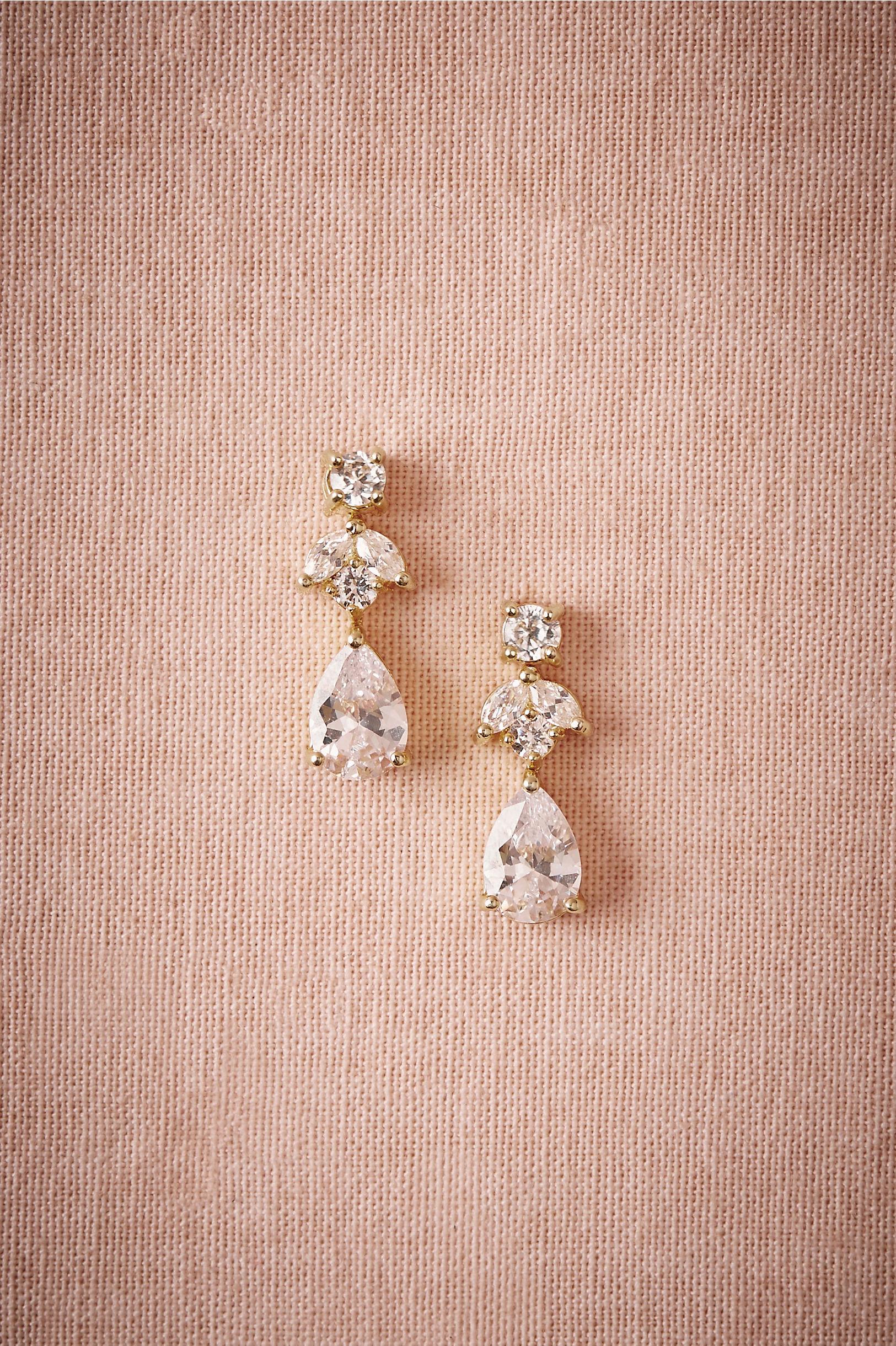 Kenneth Jay Lane Gold Pee Crystal Drop Earrings Bhldn
