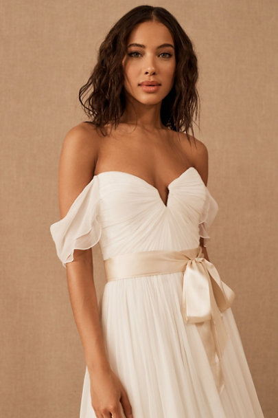 Madeleine Fig White Sand Simply Silk Sash | BHLDN