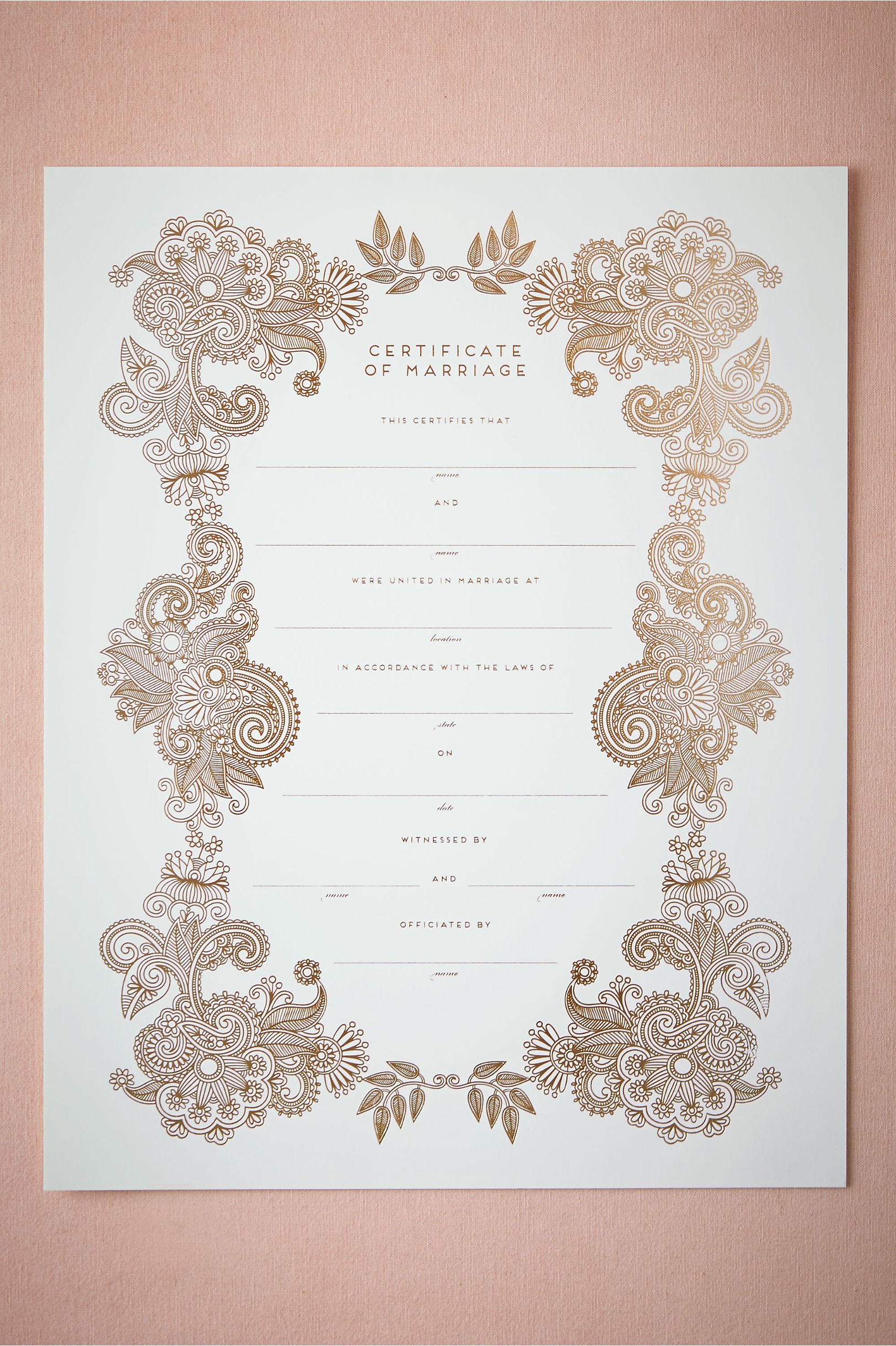 Keepsake wedding certificate wedding gallery keepsake marriage certificate in bhldn alramifo Image collections