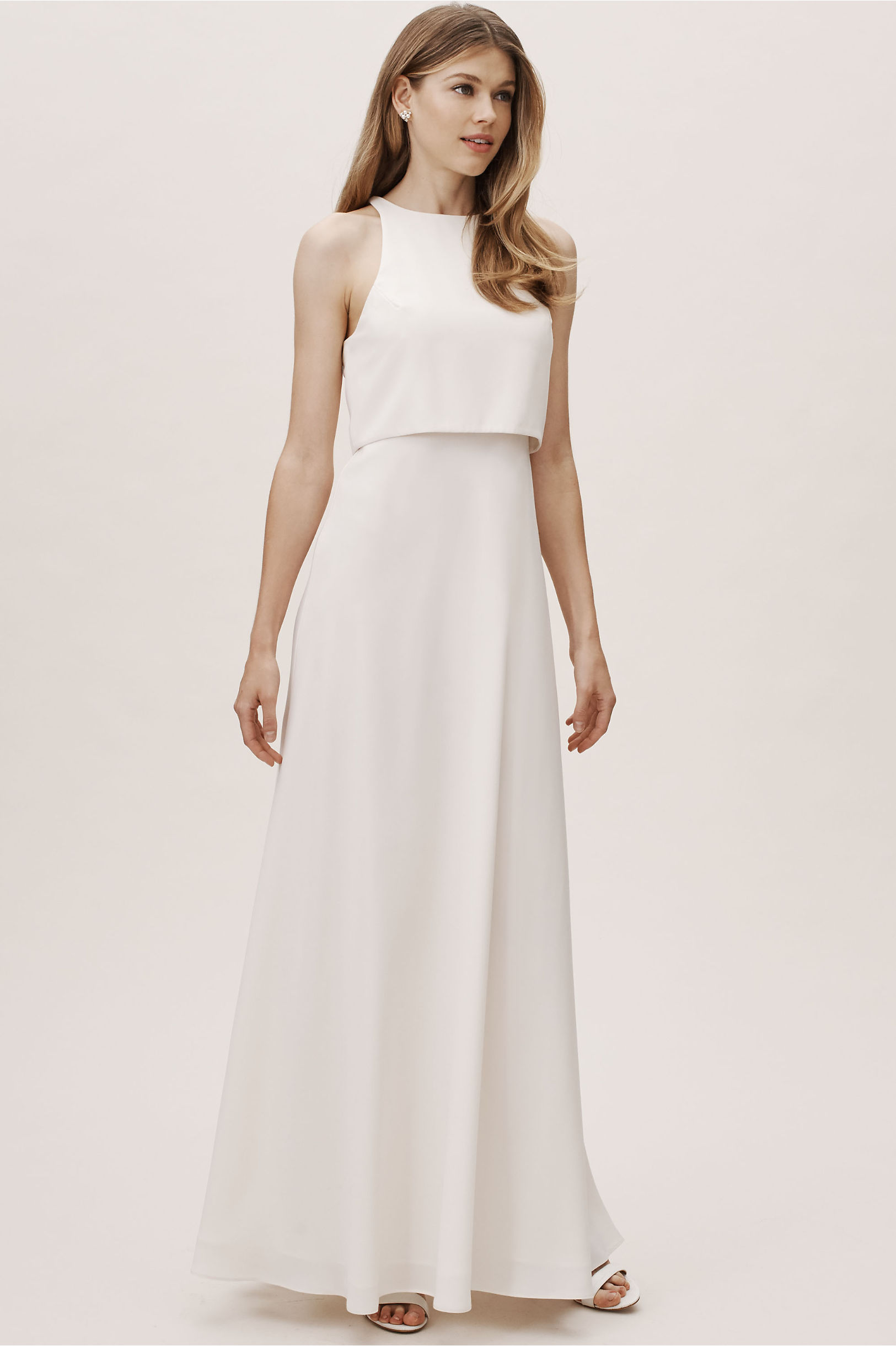 Iva Crepe Maxi Ivory In Bride Bhldn