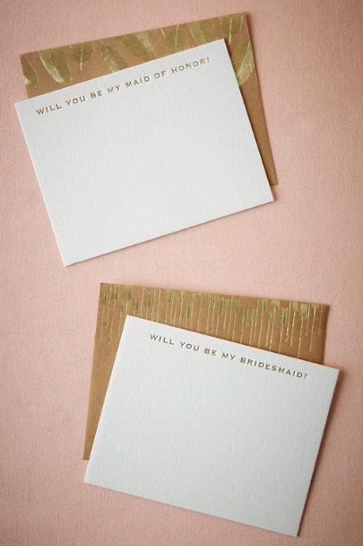 Maid Of Honor Golden Plume Bridesmaid Card | BHLDN