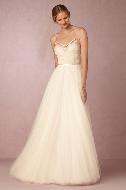Watters Ivory Charlotte Gown | BHLDN