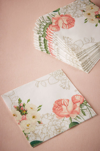 Rose Corsage Cocktail Napkins (20) | BHLDN