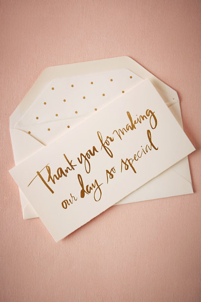 Sugar Paper Gold Foil Script Thank You Card | BHLDN