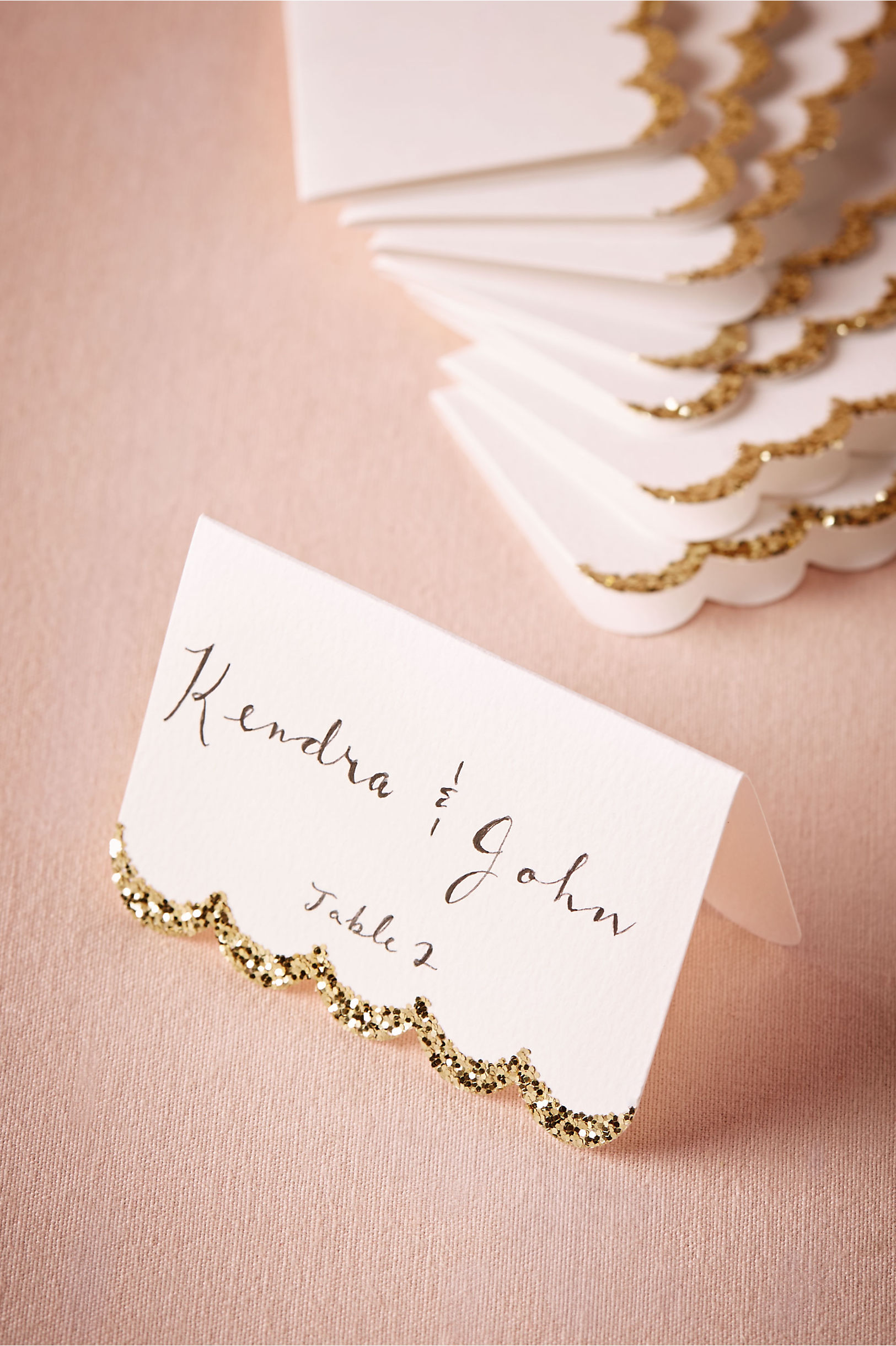Gold Glitter Dipped Place Cards 10 Bhldn