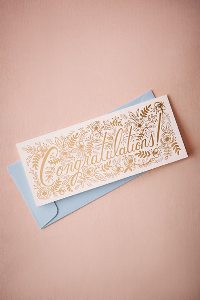 Rifle Paper Co. Rose Gold Champagne Floral Congrats Card | BHLDN