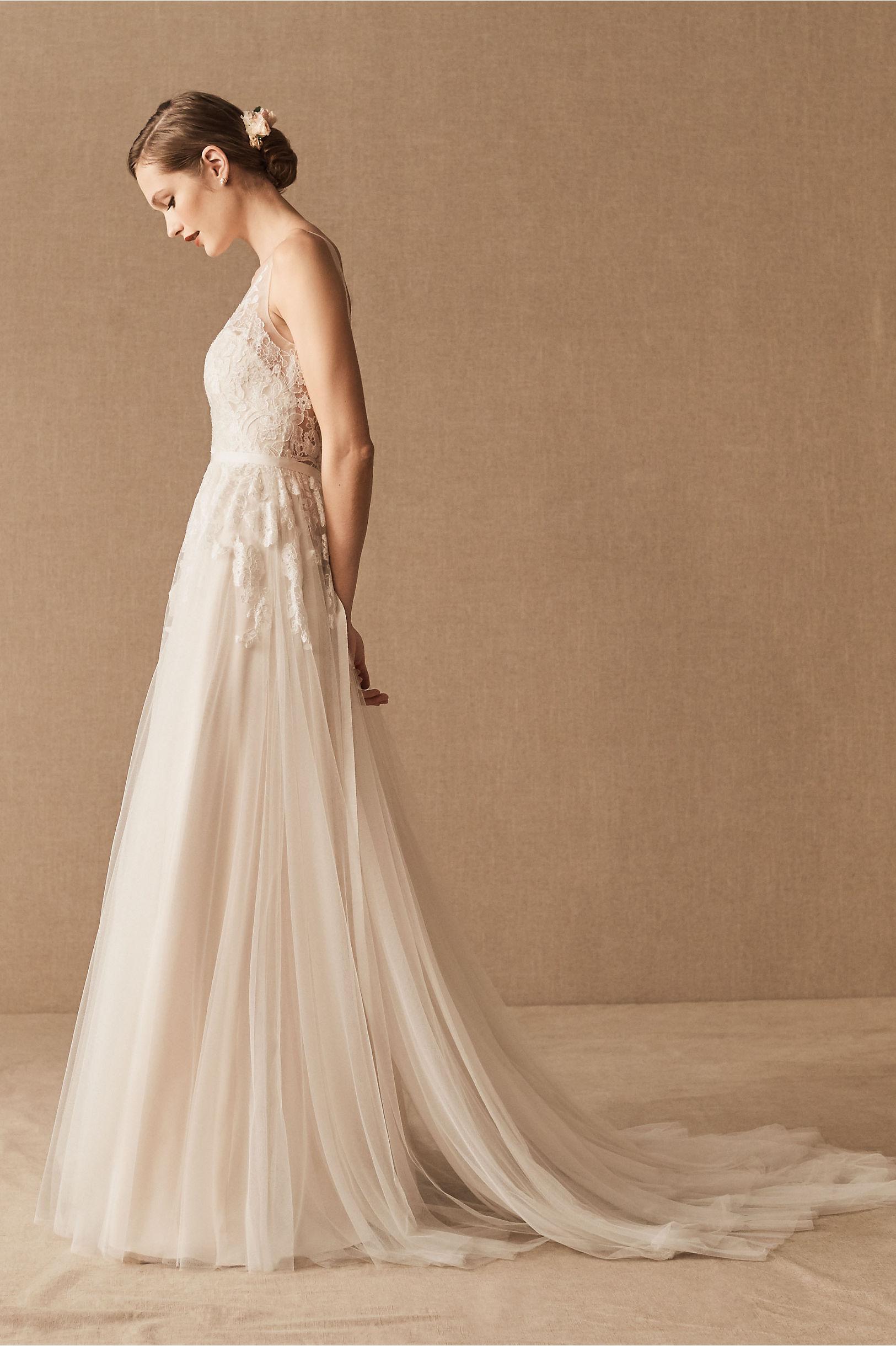 Reagan Gown & Anastasia Cape in Bride | BHLDN