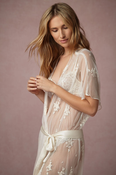 Band of Gypsies Ivory Translucid Lace Robe | BHLDN