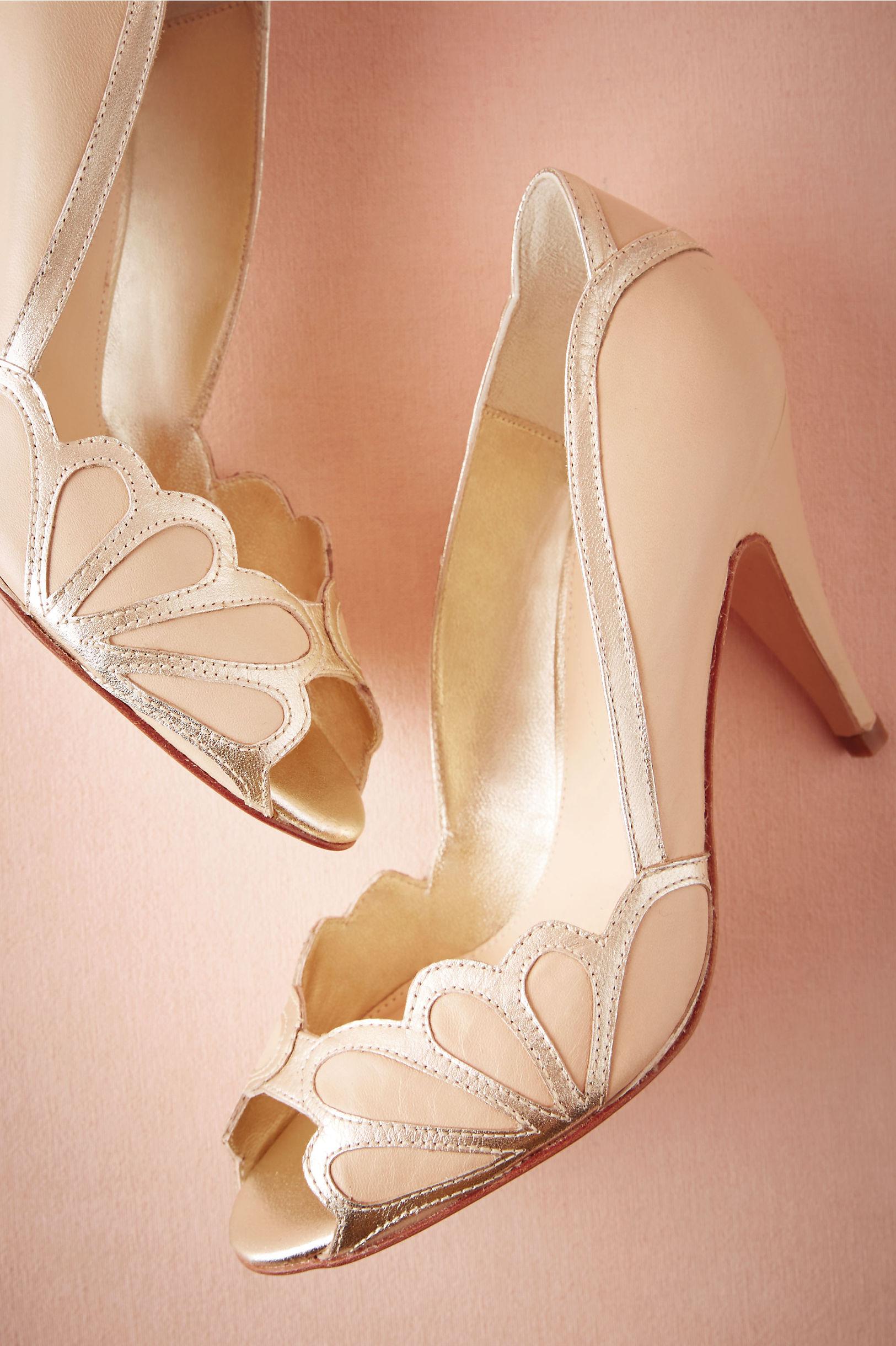 Vintage Wedding Shoes, Flats, Boots, Heels Isabella Scalloped Heel $280.00 AT vintagedancer.com