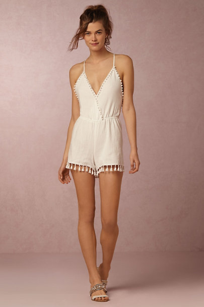White Pompom Romper  | BHLDN