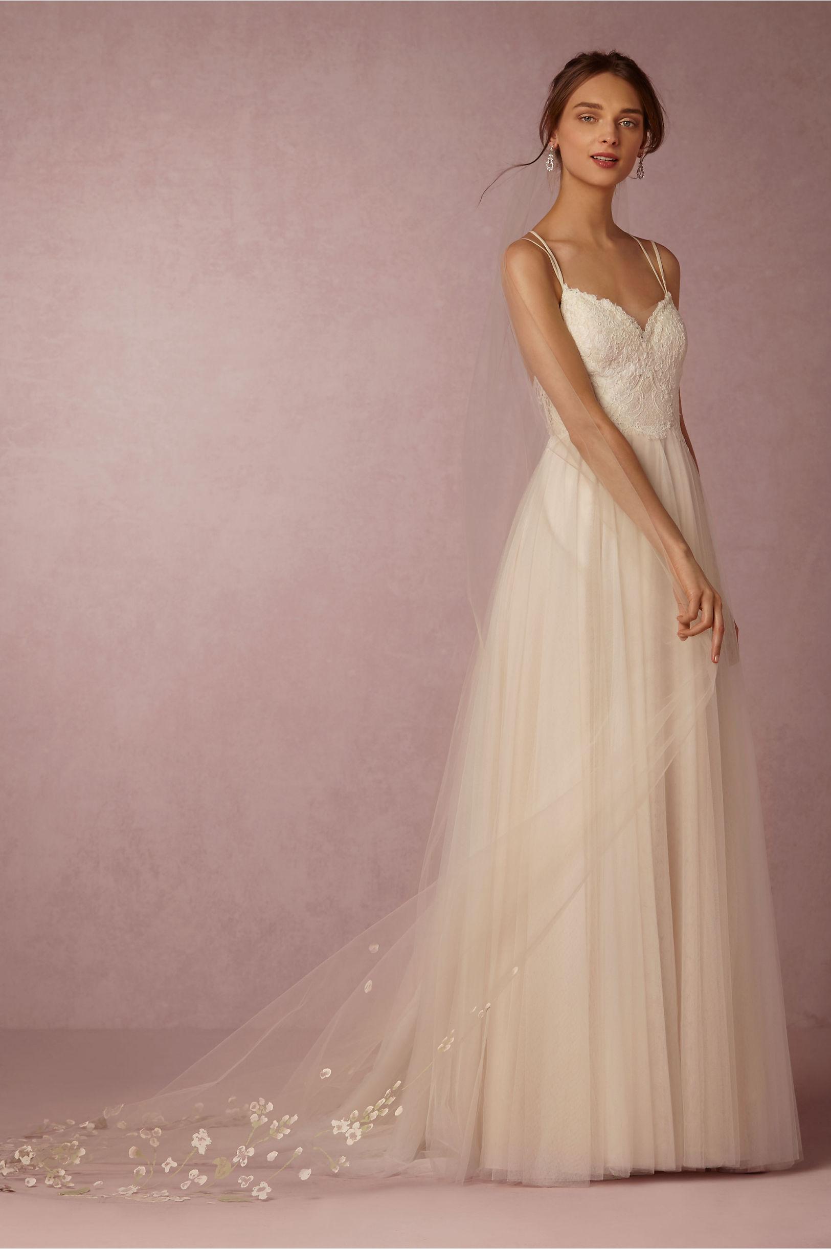 Painted Flora Veil Blush in Bride | BHLDN