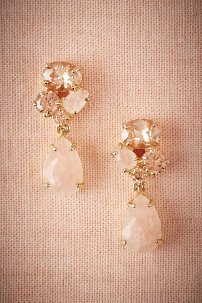 Jardin Gold Blushing Crystal Drop Earrings | BHLDN