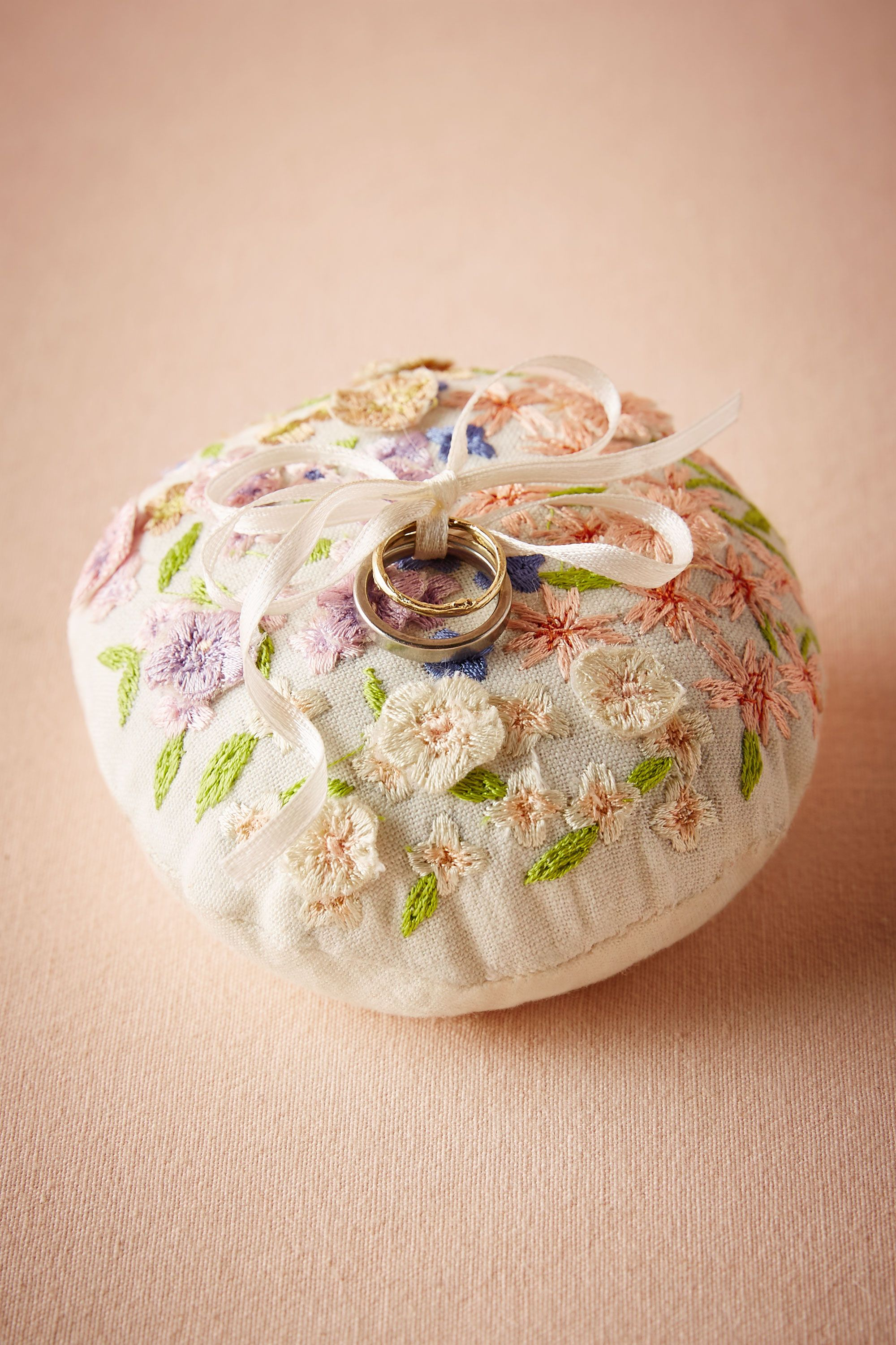 Floral Embroidered Ring Pillow Multi in Dcor Gifts BHLDN