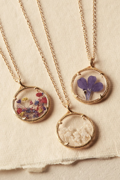 Catherine Weitzman Lobelia Pressed Flower Necklace | BHLDN