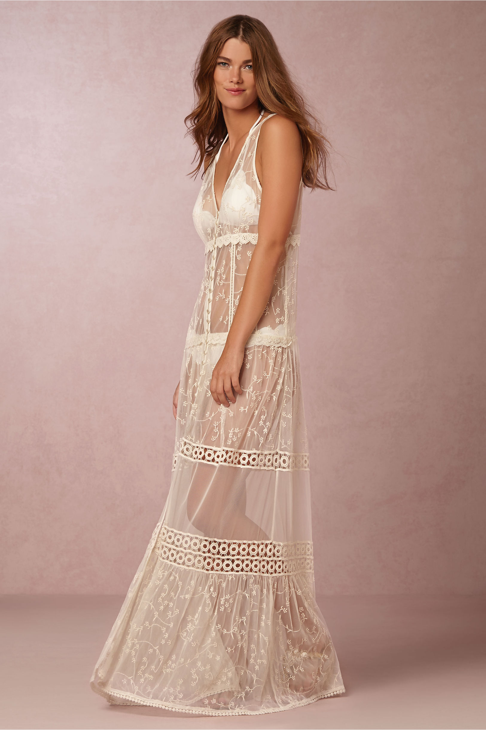 Riona Sheer Gown in Bride | BHLDN