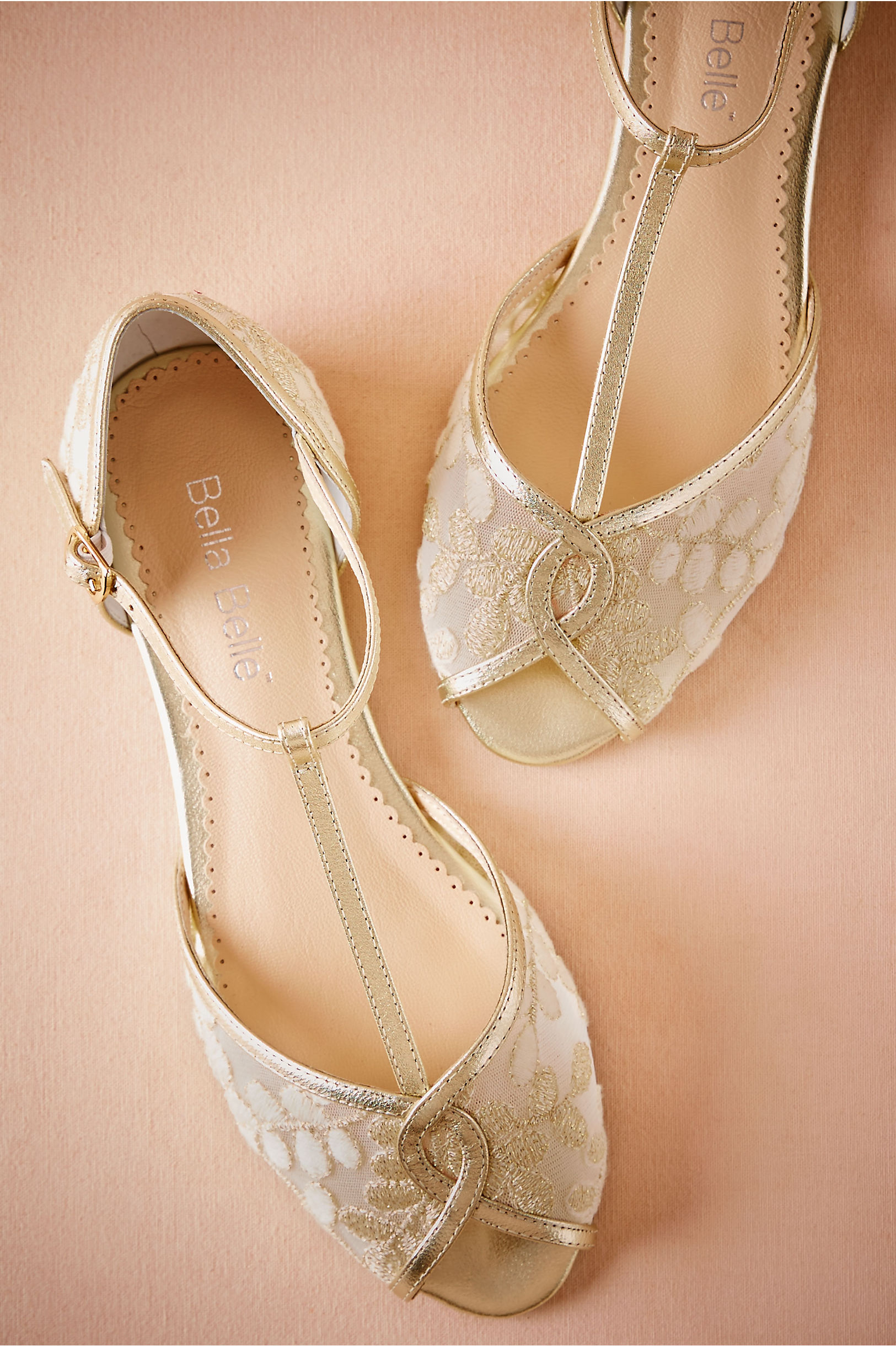 3a1aa0196870ec Bella Belle Maisie Embroidered T-Strap Flats Gold in Bride