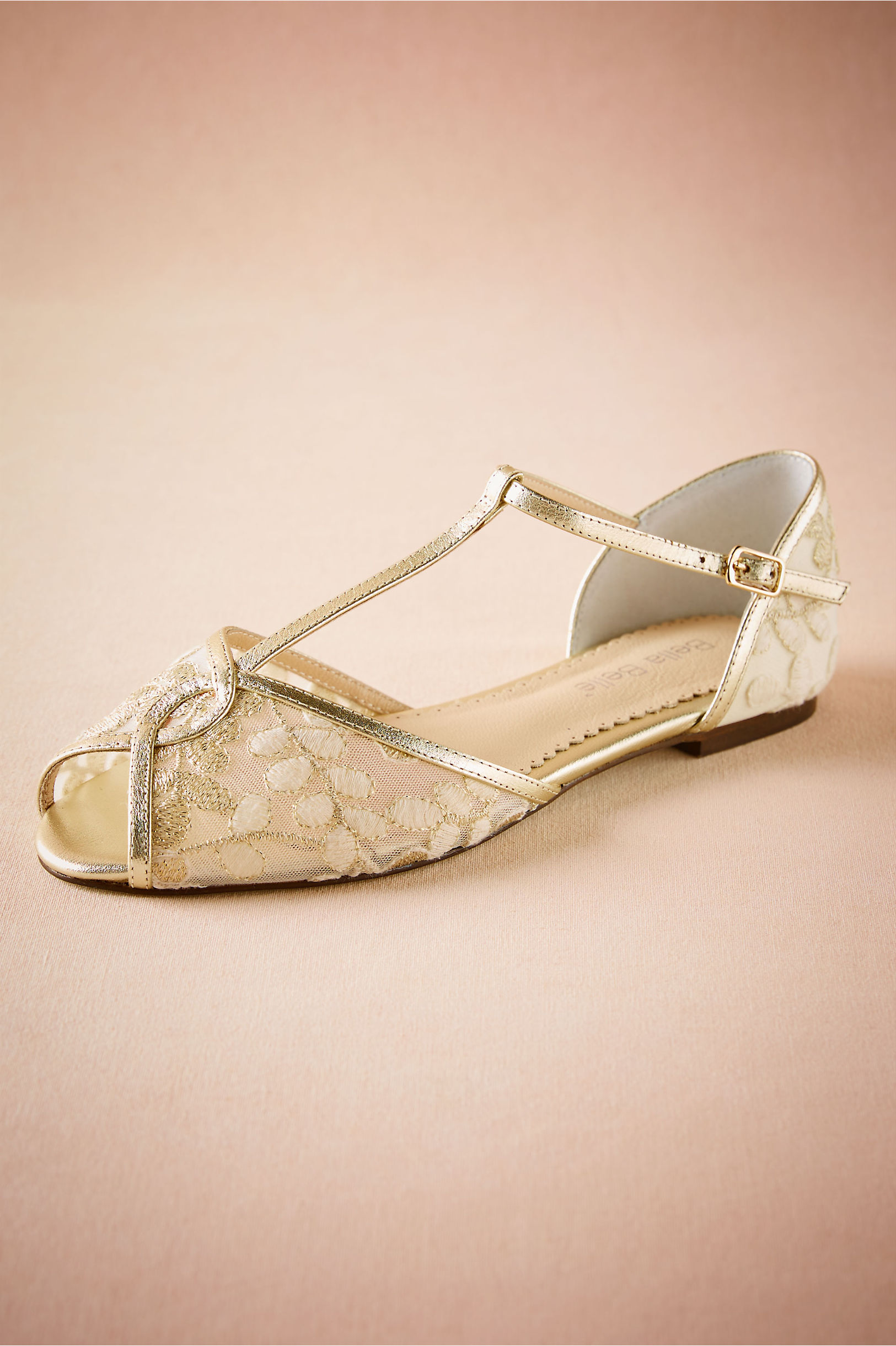 Vintage Wedding Shoes, Flats, Boots, Heels Maisie Embroidered T-Strap Flats $190.00 AT vintagedancer.com