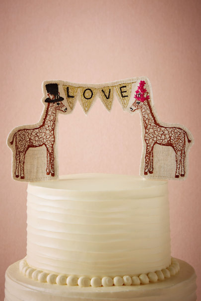 Neutral Lovesome Giraffes Cake Topper | BHLDN