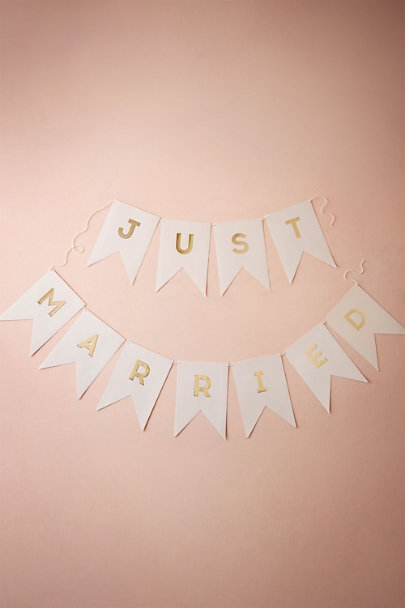 Gold Just Married Banner | BHLDN