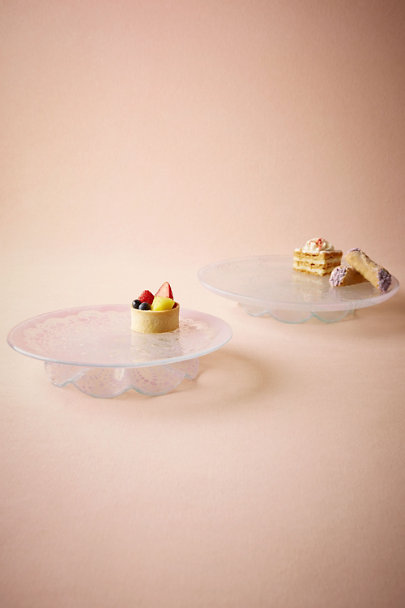 Pink Crocheted Glass Cake Stand | BHLDN