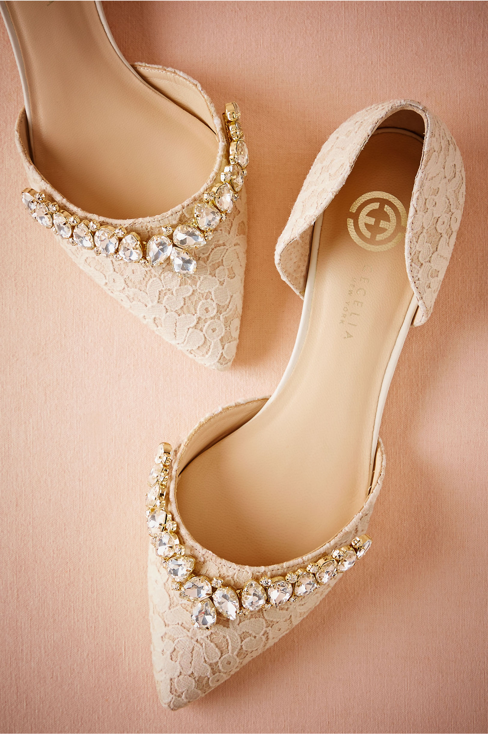 Cecilia NY Ivory And Gold Lotti Lace Flats