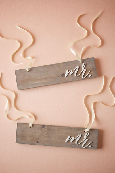 Mr/Mr Driftwood Chair Signs | BHLDN