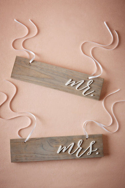 Mr/Mrs Driftwood Chair Signs | BHLDN