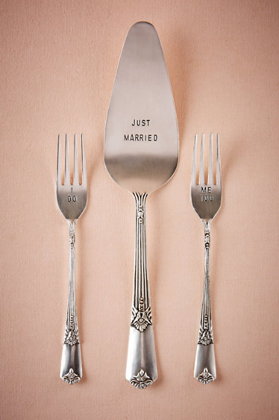Silver Just Married Serving Set | BHLDN