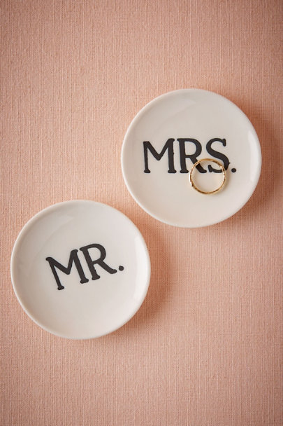 White Mr & Mrs Ring Dishes (2) | BHLDN