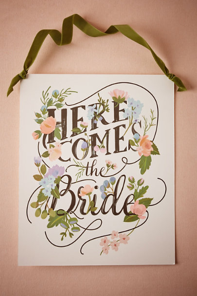 White Here Comes the Bride Sign | BHLDN