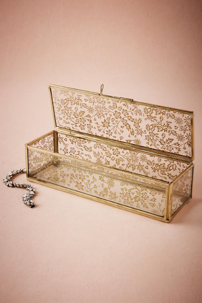 Gold Gilded Lace Jewelry Box | BHLDN