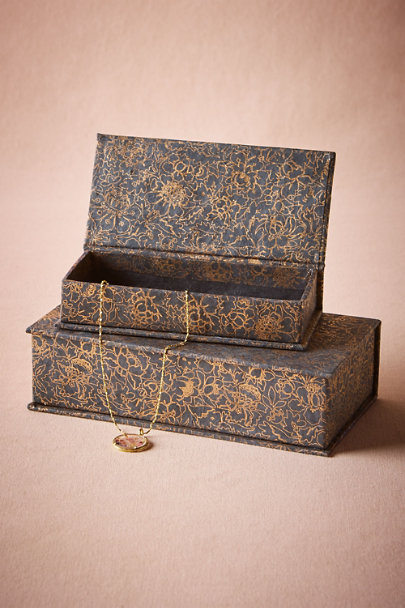 Navy Gilded Garden Jewelry Boxes (2) | BHLDN