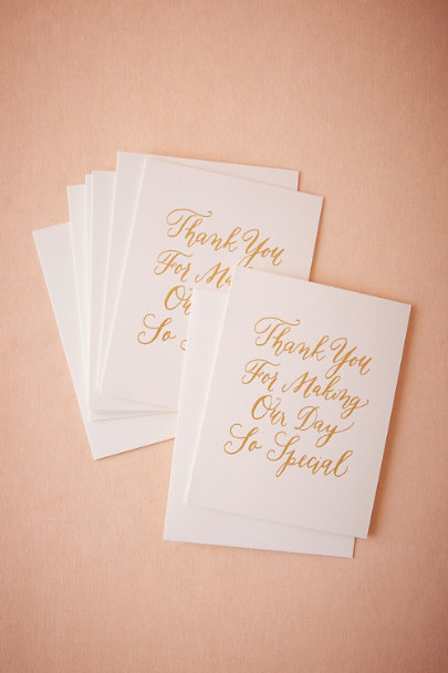 Gold Special Day Thank You Cards (8) | BHLDN