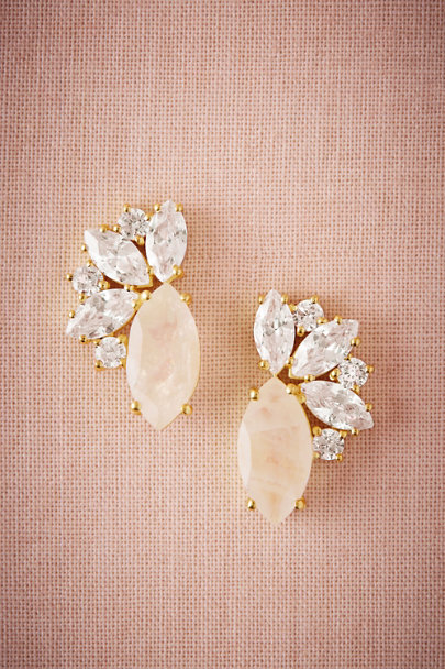 Gold Radiant Moonstone Stud Earrings | BHLDN