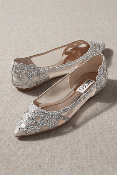 Badgley Mischka Ivory Gigi Flats | BHLDN