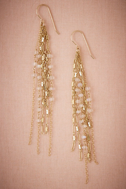 Taylor Kenney Gold Lunar Bead Drop Earrings | BHLDN