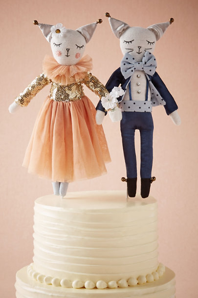 Alice Mary Lynch Peach Festive Feline Cake Topper (2) | BHLDN