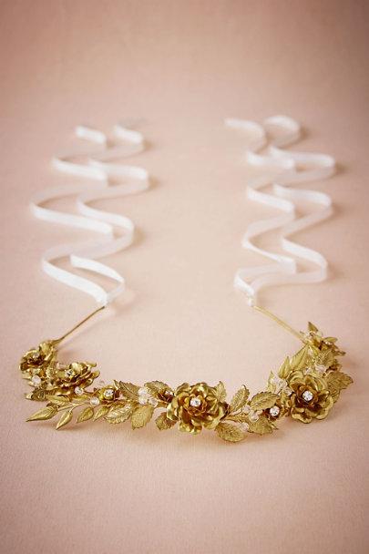 Mignonne Handmade Gold Gilded Rosa Headpiece | BHLDN