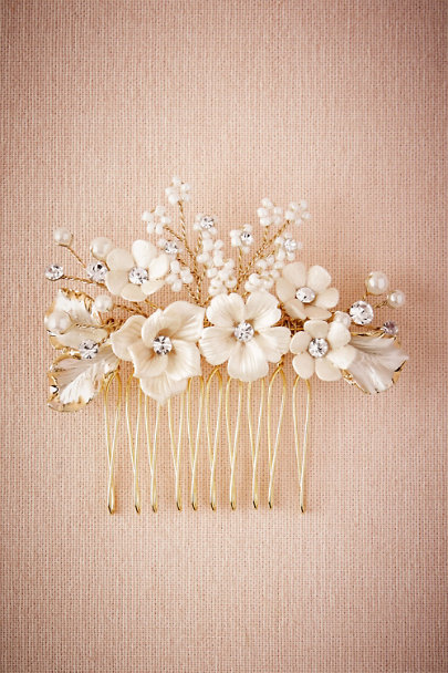 Twigs & Honey Gold Bursting Blooms Hair Comb | BHLDN