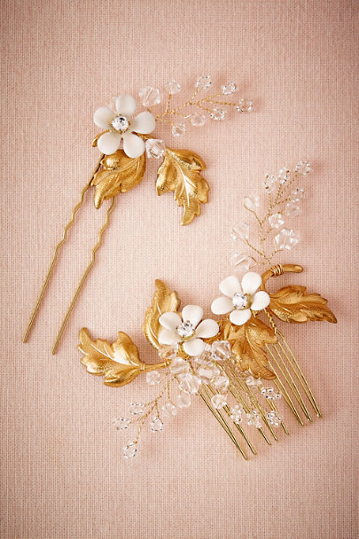 Percy Handmade Gold Laurette Combs (2) | BHLDN
