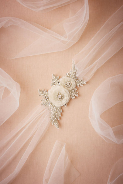 Jardin White Sparkled Bloom Sash | BHLDN