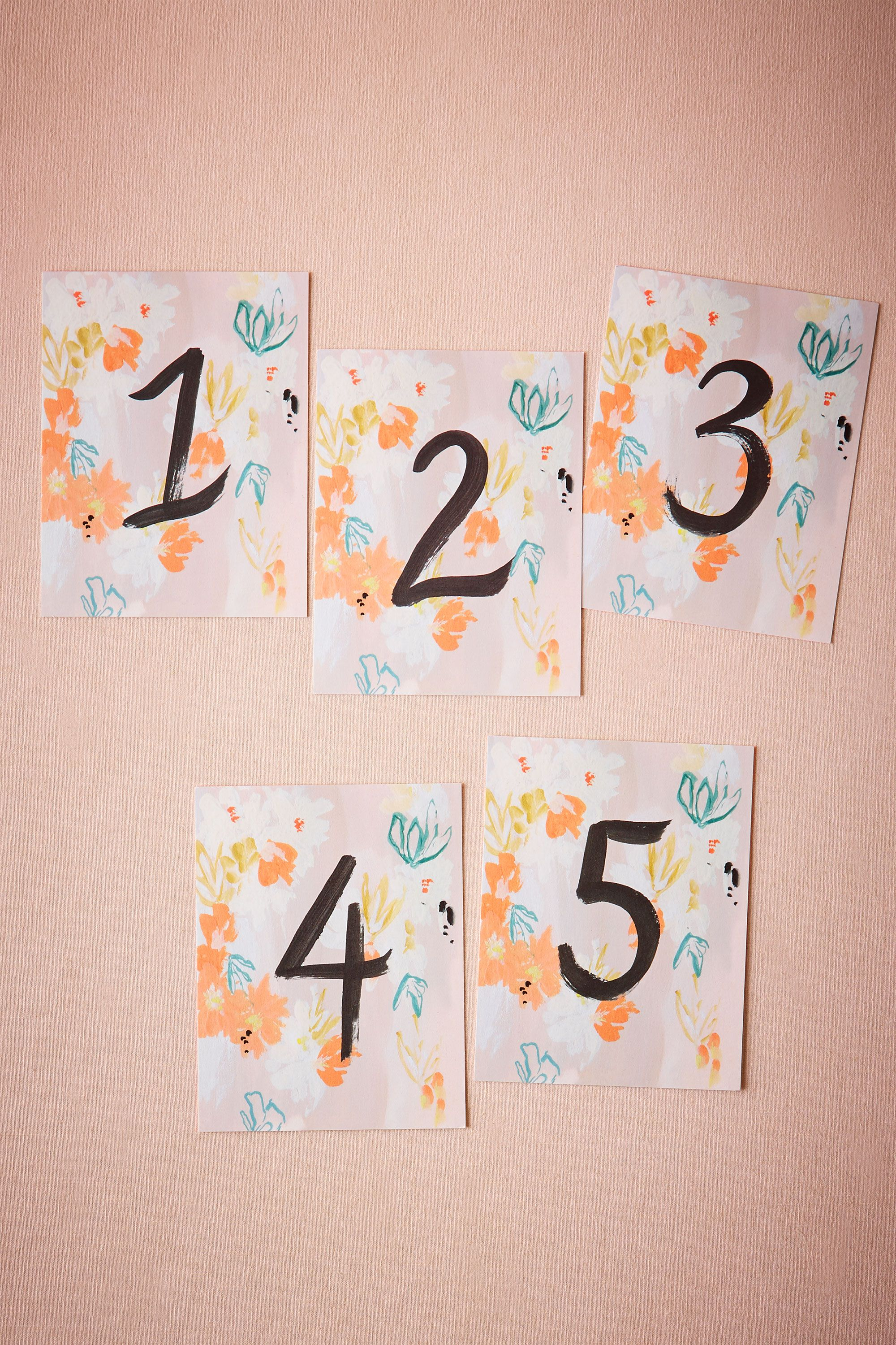 Brushed Blooms Table Numbers (5)
