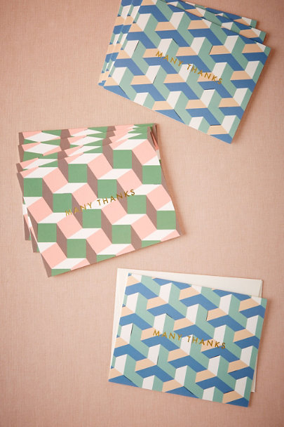 Lime Geometric Thank You Cards (8) | BHLDN