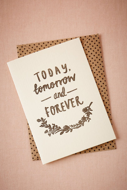 White Today, Tomorrow & Forever Card | BHLDN