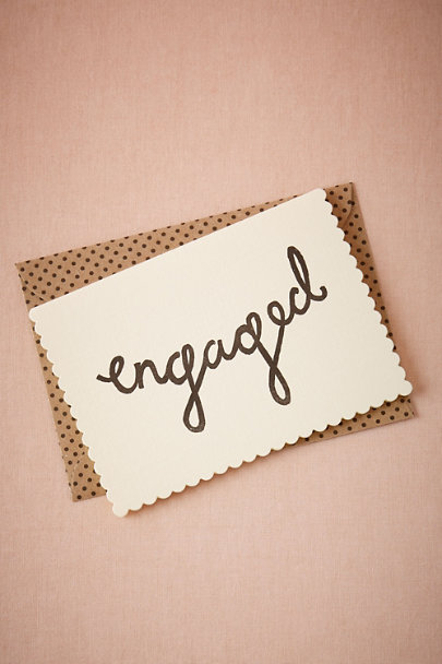 White Scalloped Engaged Card | BHLDN