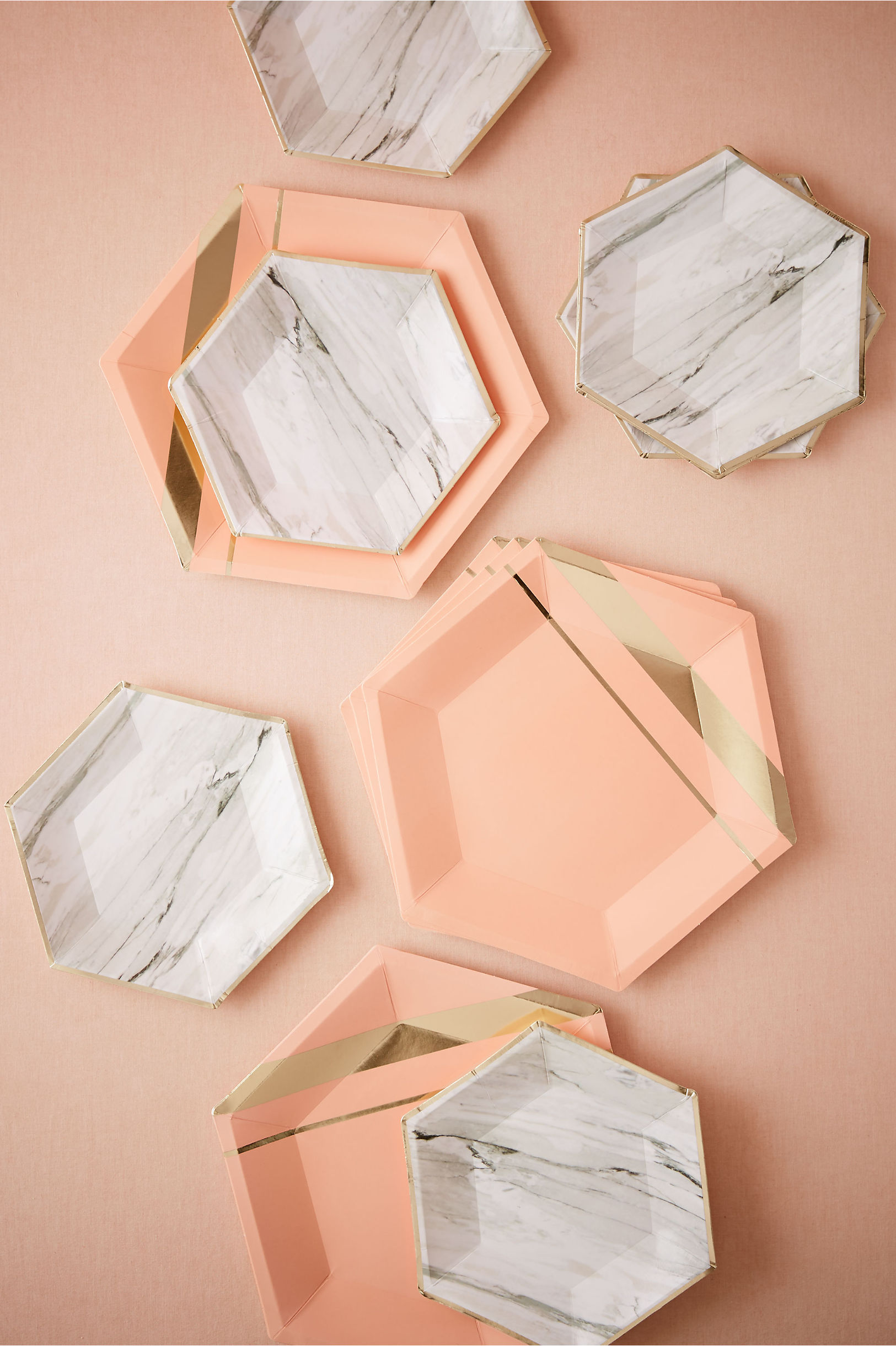 Marble Hexagonal Paper Plates (8) | BHLDN & Hexagonal Paper Plates (8) in Sale | BHLDN