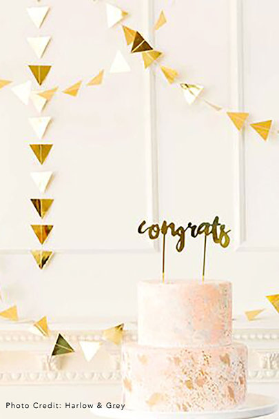 Gold Congrats Cake Topper | BHLDN