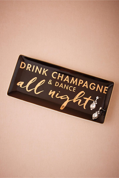 Black Dance All Night Ceramic Tray | BHLDN