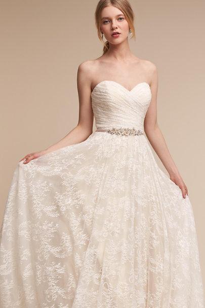 Sparkling gardenia sash in bride bhldn for Shop simple wedding dresses